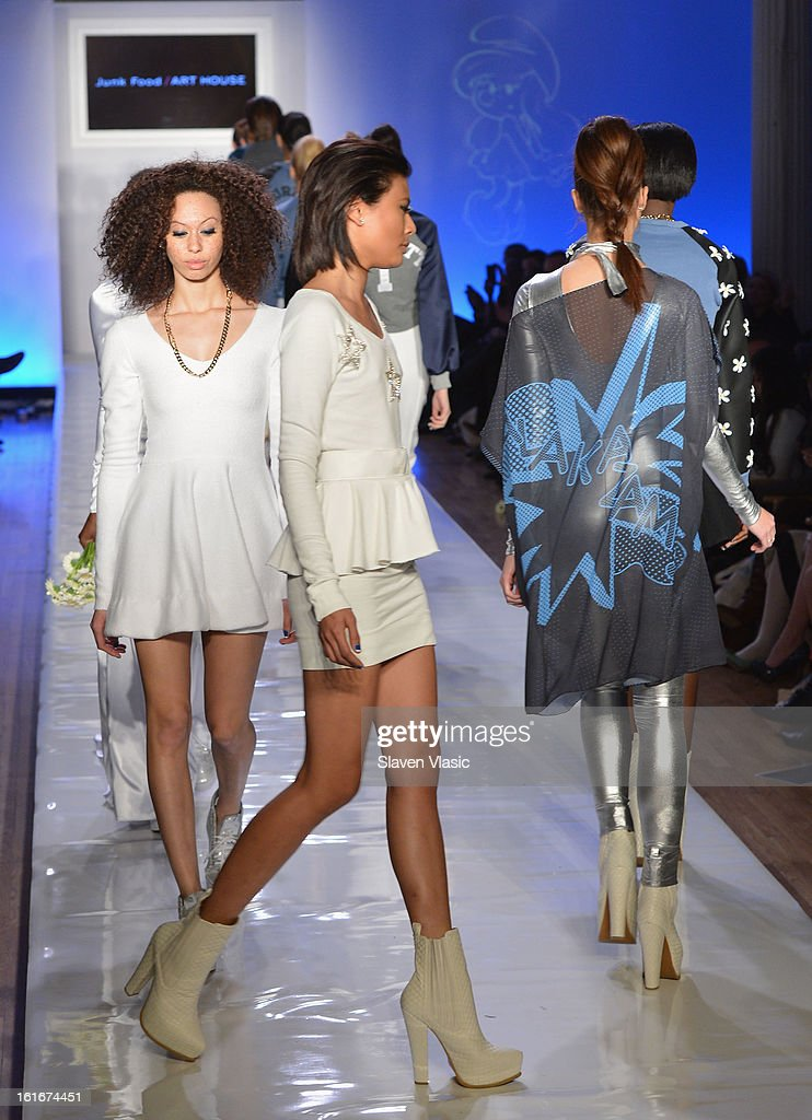 Models walk the runway at the Le Smurfette fall 2013 fashion show during Conair Style360 at Metropolitan Pavilion on February 13, 2013 in New York City.