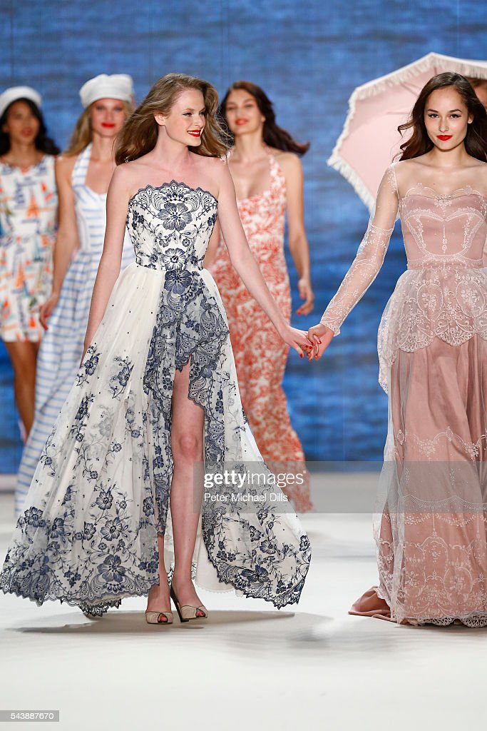 Models walk the runway at the Lena Hoschek show during the Mercedes-Benz Fashion Week Berlin Spring/Summer 2017 at Erika Hess Eisstadion on June 30, 2016 in Berlin, Germany.