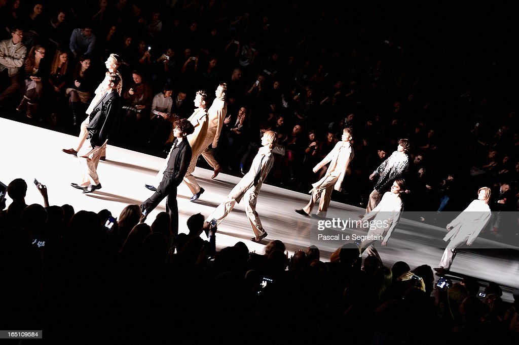 Models walk the runway at the Leonid Alexeev show during Mercedes-Benz Fashion Week Russia Fall/Winter 2013/2014 at Manege on March 30, 2013 in Moscow, Russia.