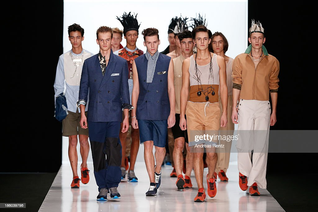 Models walk the runway at the Leonid Alexeev show during Mercedes-Benz Fashion Week Russia S/S 2014 on October 27, 2013 in Moscow, Russia.