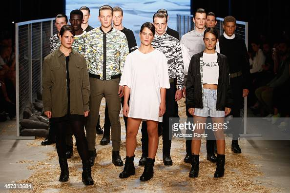 Models walk the runway at the Les Benjamins show during Mercedes Benz Fashion Week Istanbul SS15 at Antrepo 3 on October 16 2014 in Istanbul Turkey