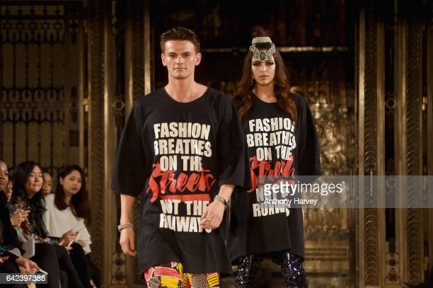 Models walk the runway at the Limkokwing University show at Fashion Scout during the London Fashion Week February 2017 collections on February 17...