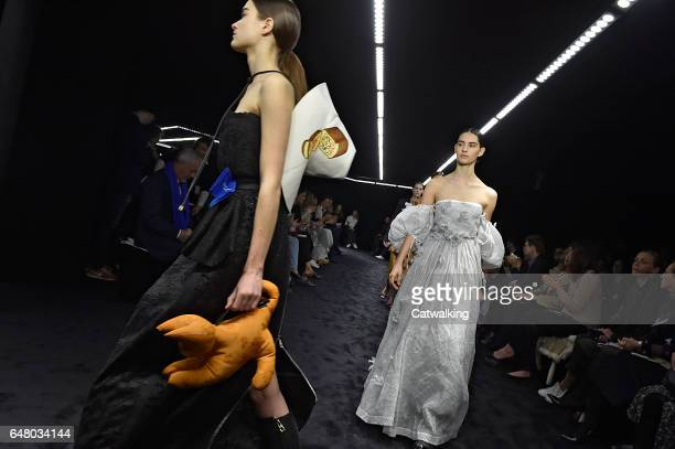 Models walk the runway at the Loewe Autumn Winter 2017 fashion show during Paris Fashion Week on March 3 2017 in Paris France