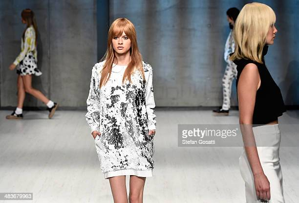 Models walk the runway at the MacGraw show during MercedesBenz Fashion Week Australia 2014 at Carriageworks on April 10 2014 in Sydney Australia