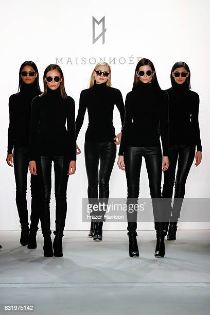 Models walk the runway at the Maisonnoee show during the MercedesBenz Fashion Week Berlin A/W 2017 at Kaufhaus Jandorf on January 18 2017 in Berlin...