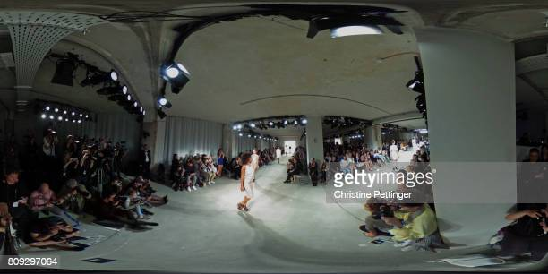 Models walk the runway at the Maisonnoee show during the MercedesBenz Fashion Week Berlin Spring/Summer 2018 at Kaufhaus Jandorf on July 5 2017 in...