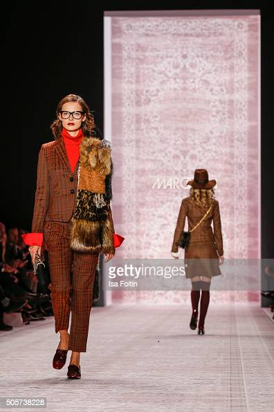 Models walk the runway at the Marc Cain Show during MercedesBenz Fashion Week Berlin Autumn/Winter 2016 on January 19 2016 in Berlin Germany