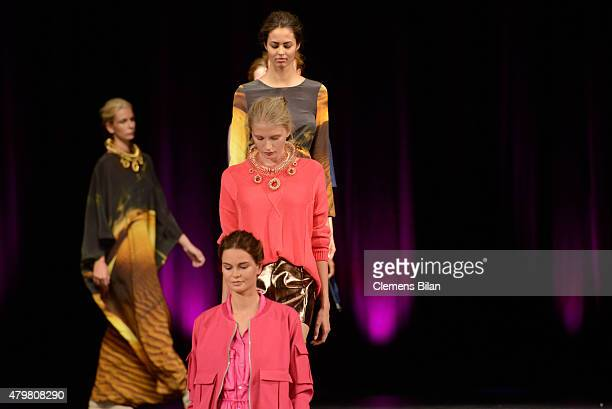 Models walk the runway at the Marcel Ostertag show during the MercedesBenz Fashion Week Berlin Spring/Summer 2016 at Admiralspalast on July 7 2015 in...