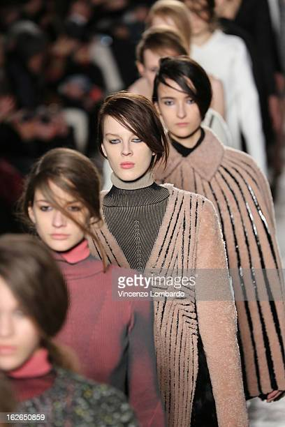Models walk the runway at the Marco de Vincenzo fashion show as part of Milan Fashion Week Womenswear Fall/Winter 2013/14 on February 24 2014 in...
