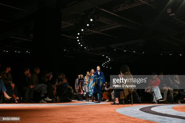 Models walk the runway at the Marco De Vincenzo show during Milan Fashion Week Fall/Winter 2017/18 on February 24 2017 in Milan Italy