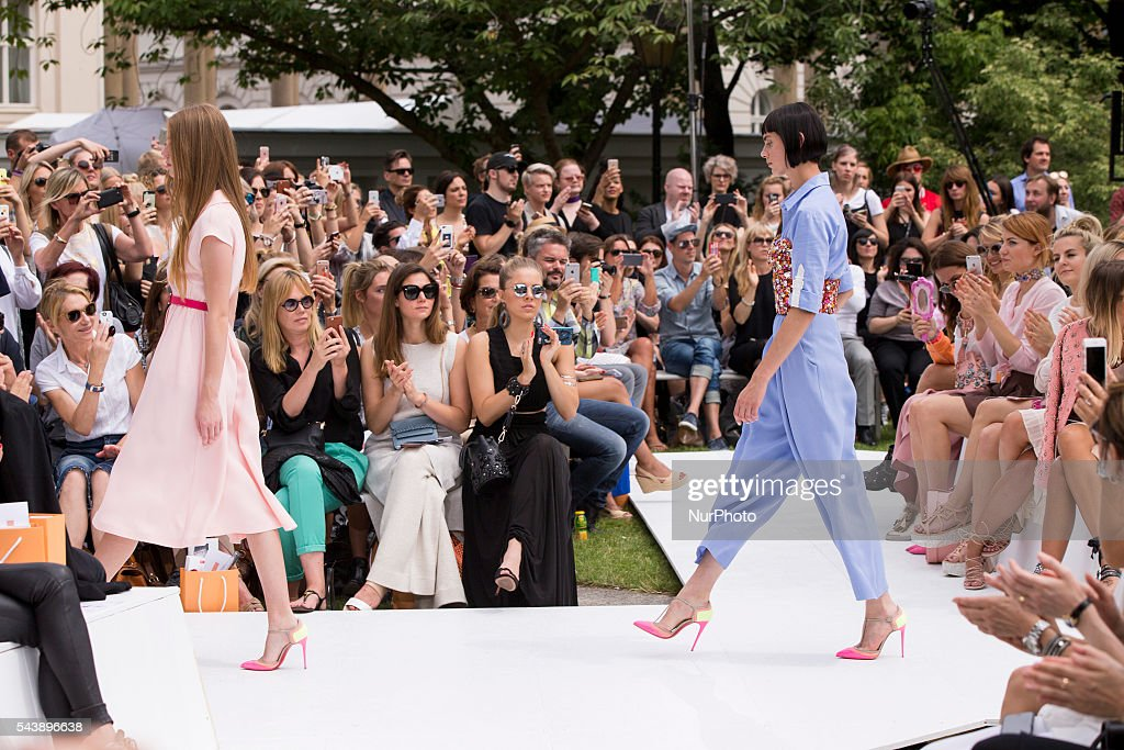 Models walk the runway at the Marina Hoermanseder show during the Mercedes-Benz Fashion Week Berlin Spring/Summer 2017 at Kronprinzenpalais in Berlin, Germany on June 30, 2016.