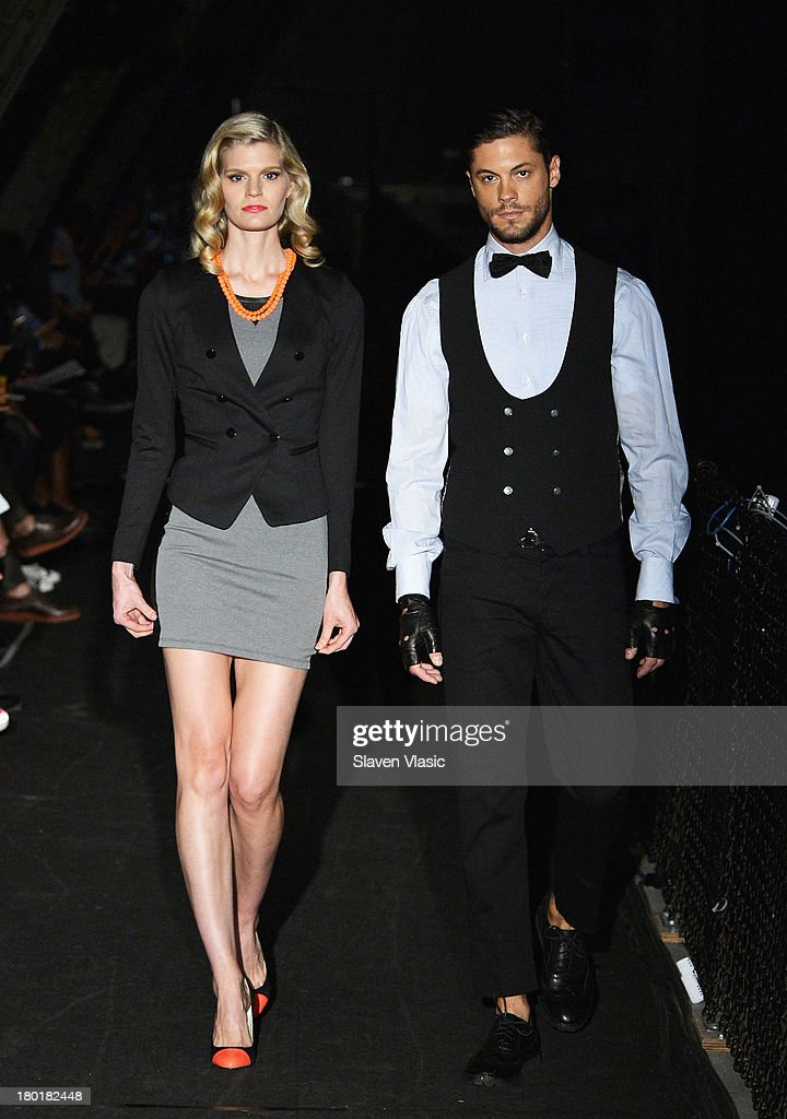 Models walk the runway at the Marlon Gobel fashion show during MercedesBenz Fashion Week Spring 2014 at Park Avenue Armory on September 9 2013 in New...