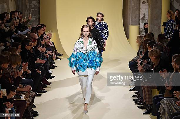 Models walk the runway at the Marni Autumn Winter 2016 fashion show during Milan Fashion Week on February 28 2016 in Milan Italy