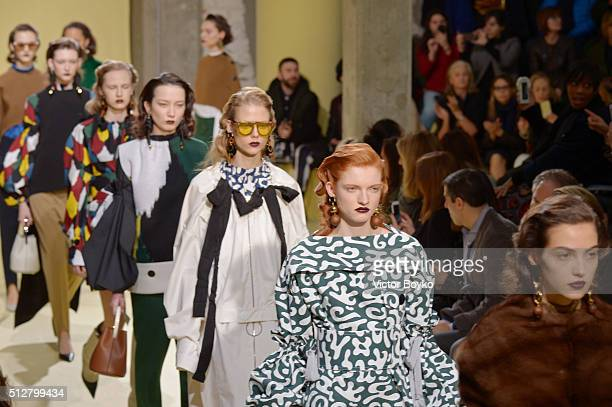 Models walk the runway at the Marni show during Milan Fashion Week Fall/Winter 2016/17 on February 28 2016 in Milan Italy