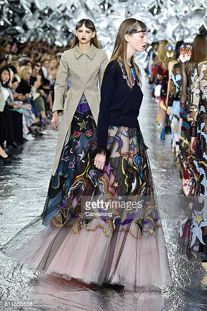 Models walk the runway at the Mary Katrantzou Autumn Winter 2016 fashion show during London Fashion Week on February 21 2016 in London United Kingdom