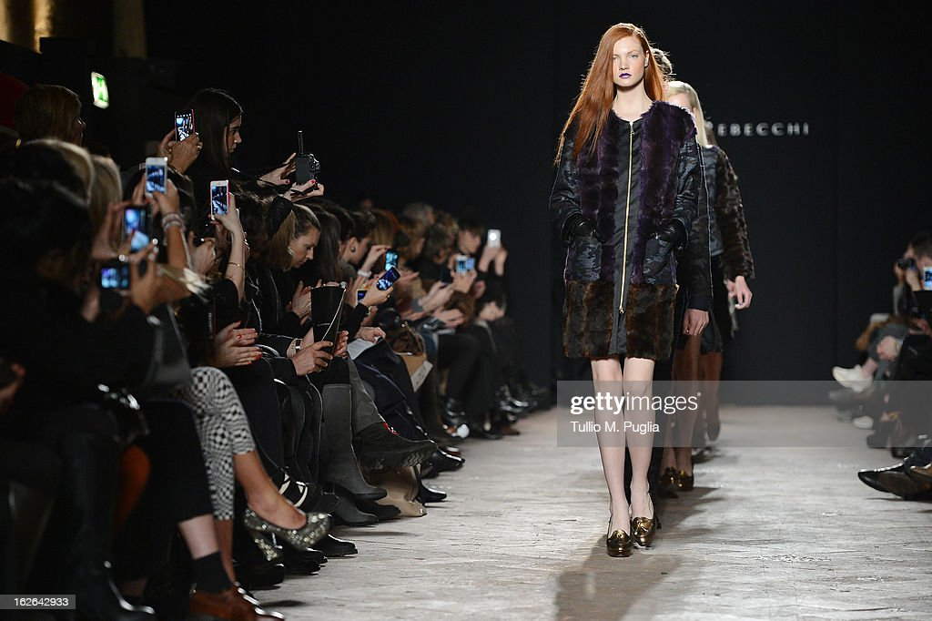 Models walk the runway at the Massimo Rebecchi fashion show as part of Milan Fashion Week Womenswear Fall/Winter 2013/14 on February 25, 2014 in Milan, Italy.