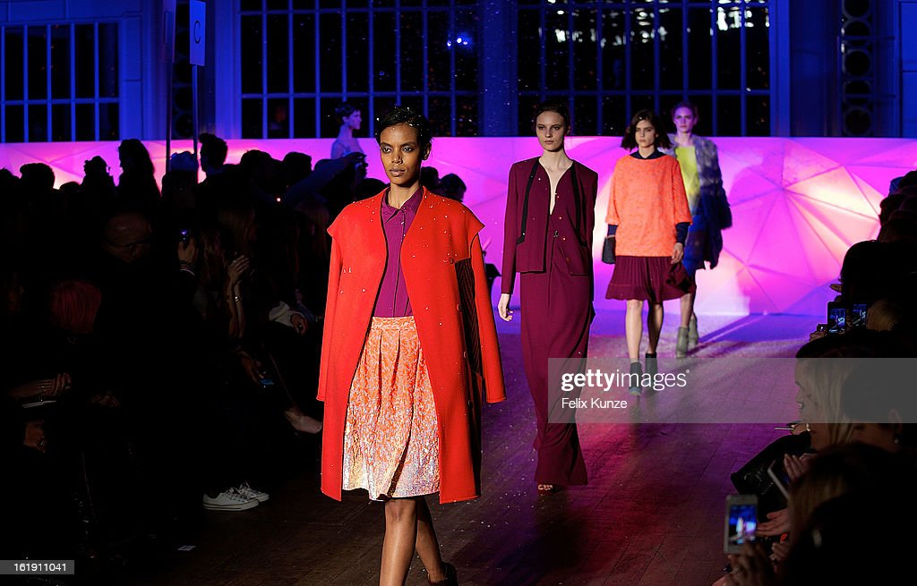 Models walk the runway at the Matthew Williamson show during London Fashion Week Fall/Winter 2013/14 at The Royal Opera House on February 17, 2013 in London, England.
