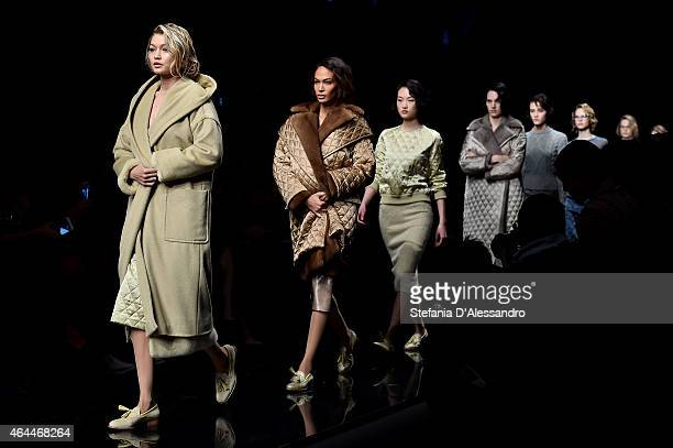 Models walk the runway at the Max Mara show during the Milan Fashion Week Autumn/Winter 2015 on February 26 2015 in Milan Italy