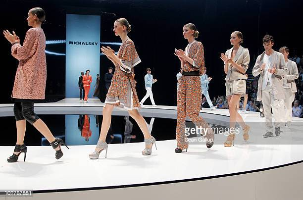 Models walk the runway at the Michalsky Show at the Michalsky Style Nite at Tempodrom during the Mercedes Benz Fashion Week Spring/Summer 2011 on...