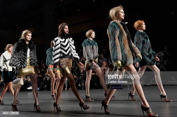 Models walk the runway at the Miguel Marinero show during Madrid Fashion Week Fall/Winter 2015/16 at Ifema on February 10 2015 in Madrid Spain