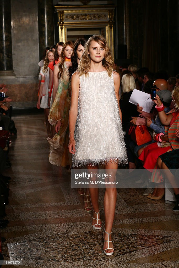 Models walk the runway at the Mila Schon show as a part of Milan Fashion Week Womenswear Spring/Summer 2014 at on September 23, 2013 in Milan, Italy.