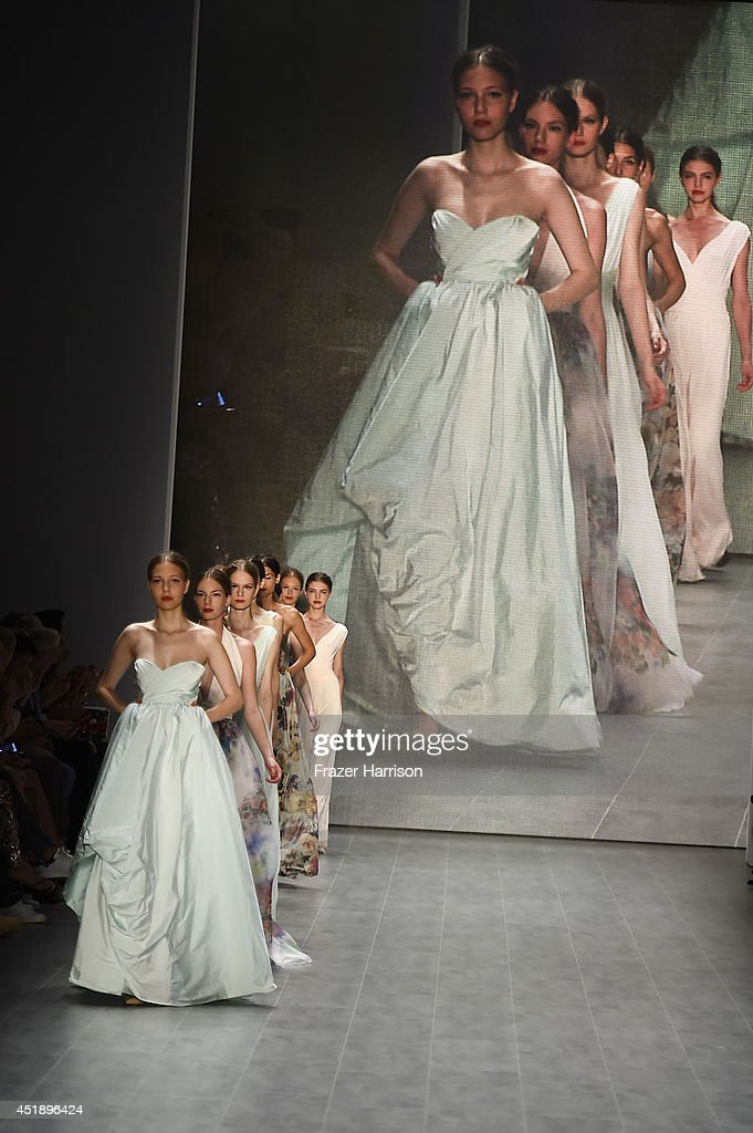 Models walk the runway at the Minx by Eva Lutz show during the MercedesBenz Fashion Week Spring/Summer 2015 at Erika Hess Eisstadion on July 9 2014...
