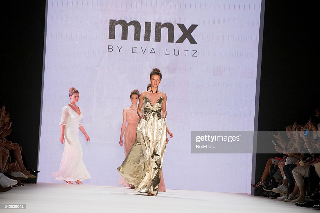 Models walk the runway at the Minx by Eva Lutz show during the Mercedes-Benz Fashion Week Berlin Spring / Summer 2017 at Erika Hess Eisstadion in Berlin, Germany on June 29, 2016.