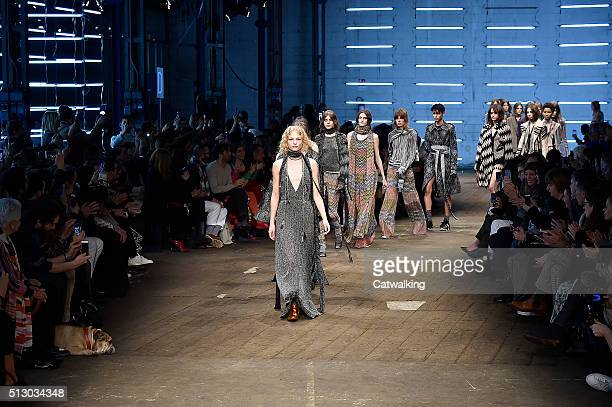 Models walk the runway at the Missoni Autumn Winter 2016 fashion show during Milan Fashion Week on February 28 2016 in Milan Italy