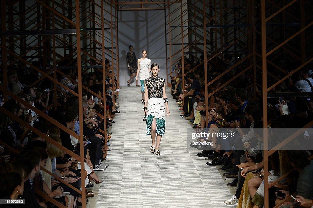 Models walk the runway at the Missoni Spring Summer 2014 fashion show during Milan Fashion Week on September 22, 2013 in Milan, Italy.