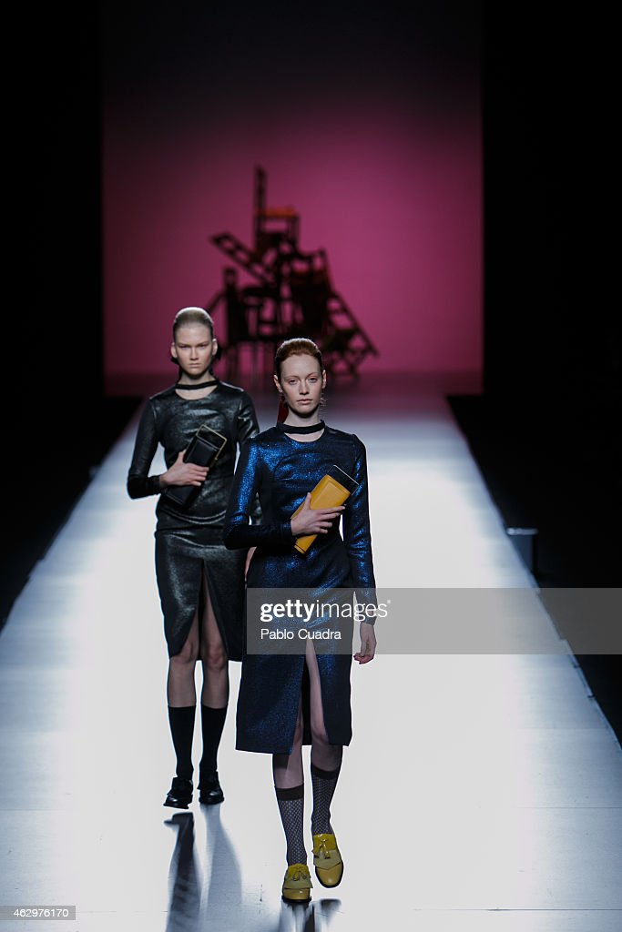 Models walk the runway at the Moises Nieto show during Mercedes Benz Madrid Fashion Week Fall/Winter 2015/16 at Ifema on February 8 2015 in Madrid...