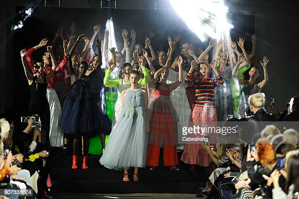 Models walk the runway at the Molly Goddard Spring Summer 2017 fashion show during London Fashion Week on September 17 2016 in London United Kingdom