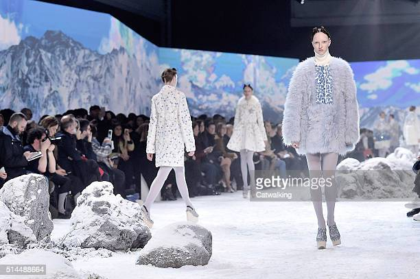 Models walk the runway at the Moncler Gamme Rouge Autumn Winter 2016 fashion show during Paris Fashion Week on March 9 2016 in Paris France