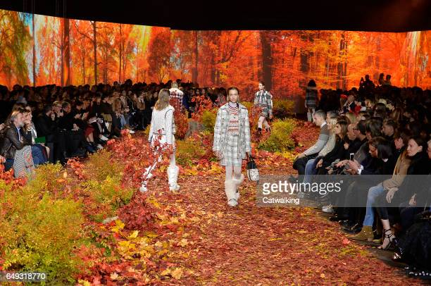 Models walk the runway at the Moncler Gamme Rouge Autumn Winter 2017 fashion show during Paris Fashion Week on March 7 2017 in Paris France