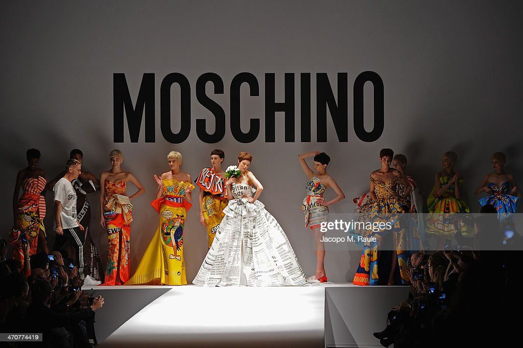 Models walk the runway at the Moschino fashion show at Milan Fashion Week Womenswear Autumn/Winter 2014 on February 20, 2014 in Milan, Italy.