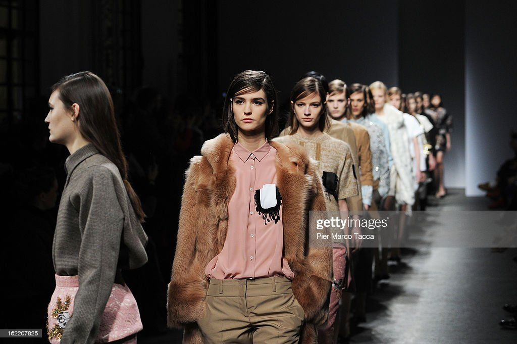 Models walk the runway at the N° 21 fashion show during Milan Fashion Week Womenswear Fall/Winter 2013/14 on February 20, 2013 in Milan, Italy.