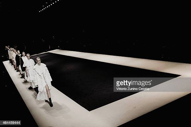 Models walk the runway at the No21 show during the Milan Fashion Week Autumn/Winter 2015 on February 25 2015 in Milan Italy