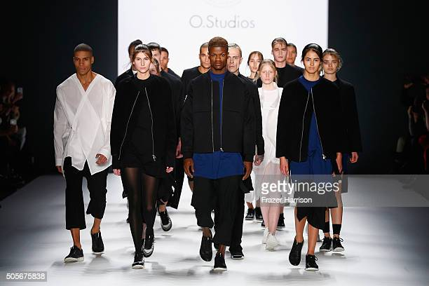 Models walk the runway at the Odeur show during the MercedesBenz Fashion Week Berlin Autumn/Winter 2016 at Brandenburg Gate on January 19 2016 in...