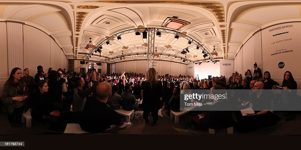 Models walk the runway at the Ones To Watch show during London Fashion Week Fall/Winter 2013/14 at Freemasons Hall on February 16, 2013 in London, England.