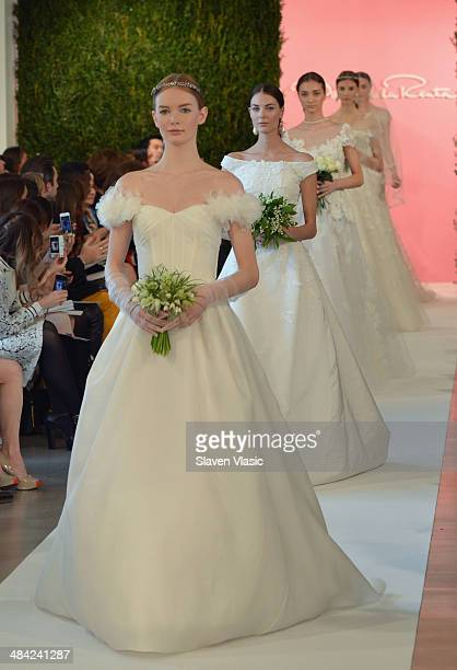 Models walk the runway at the Oscar De La Renta Spring 2015 Bridal collection show on April 11 2014 in New York City