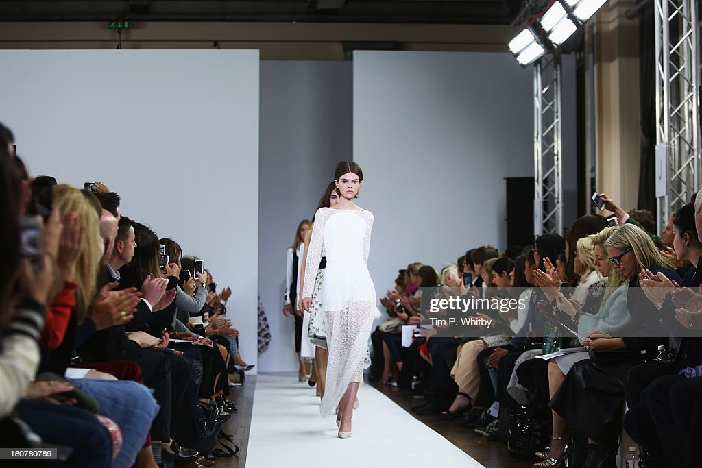 Models walk the runway at the Osman show during London Fashion Week SS14 at Victoria House on September 16, 2013 in London, England.
