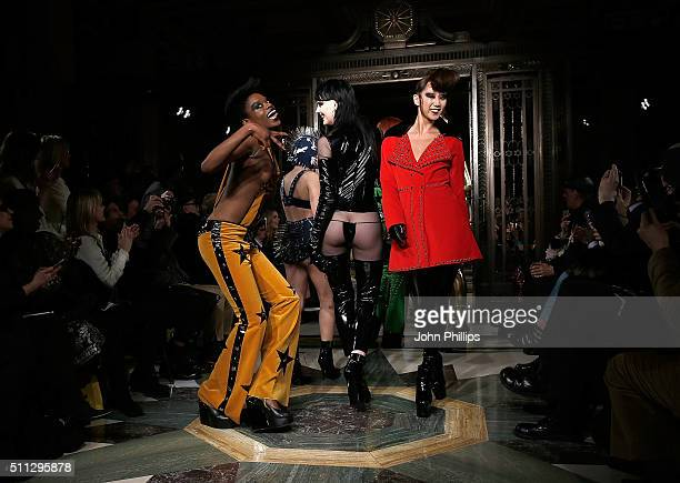 Models walk the runway at the Pam Hogg show at Fashion Scout during London Fashion Week Autumn/Winter 2016/17 at Freemasons' Hall on February 19 2016...
