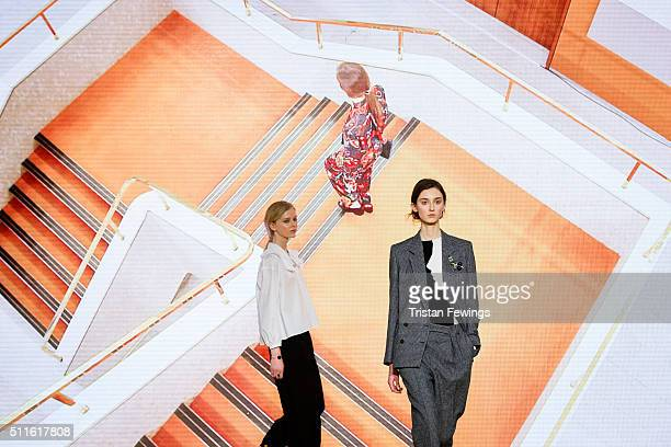 Models walk the runway at the Paul Smith show during London Fashion Week Autumn/Winter 2016/17 at Royal College Of Physicians on February 21 2016 in...