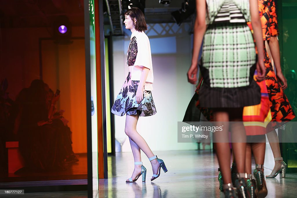 Models walk the runway at the Peter Pilotto show during London Fashion Week SS14 at Victoria House on September 16, 2013 in London, England.