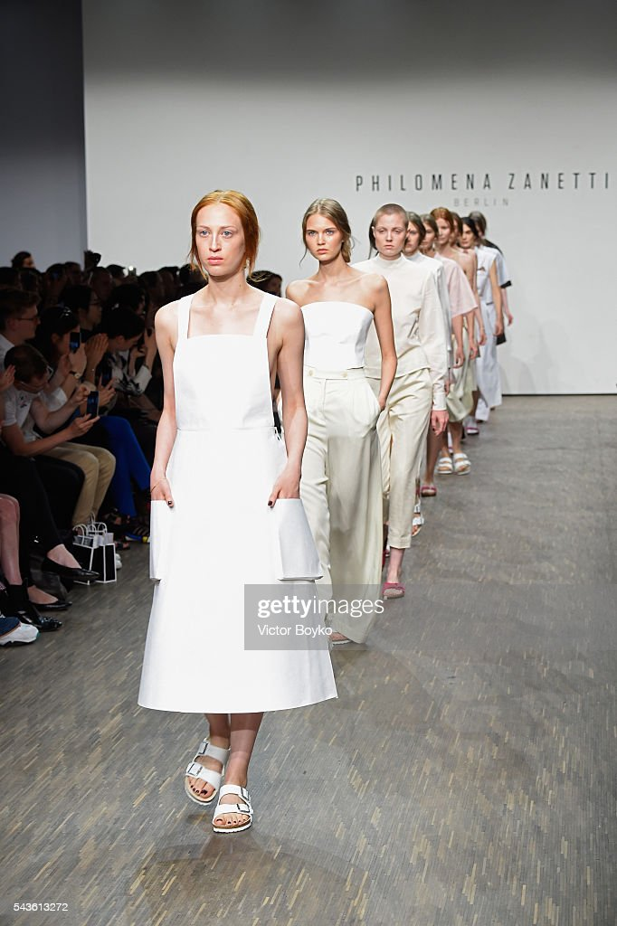 Models walk the runway at the Philomena Zanetti show during the Mercedes-Benz Fashion Week Berlin Spring/Summer 2017 at Stage at me Collectors Room on June 29, 2016 in Berlin, Germany.