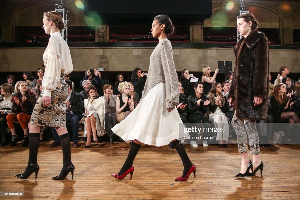 Models walk the runway at the Philosophy By Natalie Ratabesi fall 2013 fashion show during Mercedes-Benz Fashion Week at Roseland Ballroom on February 13, 2013 in New York City.
