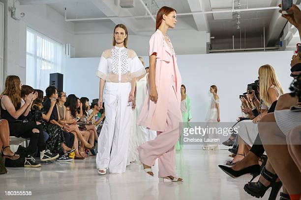 Models walk the runway at the Philosophy by Natalie Ratabesi fashion show during MercedesBenz Fashion Week Spring 2014 at Roseland Ballroom on...