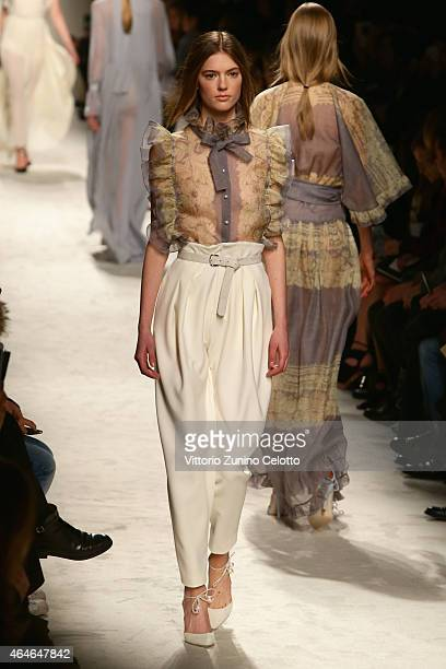 Models walk the runway at the Philosophy Di Lorenzo Serafini show during the Milan Fashion Week Autumn/Winter 2015 on February 27 2015 in Milan Italy