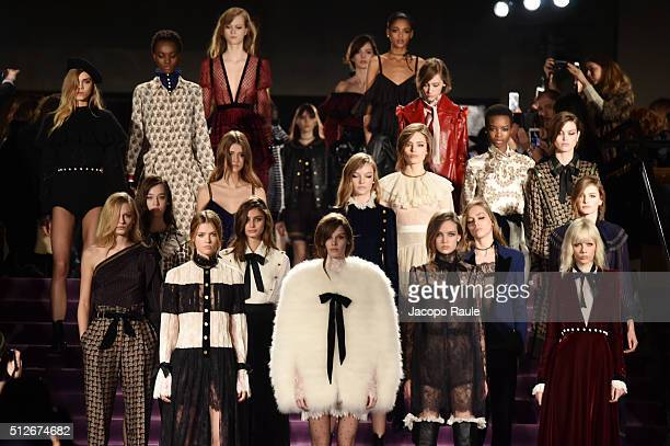 Models walk the runway at the Philosophy di Lorenzo Serafini show during Milan Fashion Week Fall/Winter 2016/17 on February 27 2016 in Milan Italy