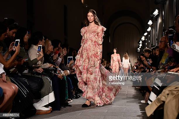 Models walk the runway at the Philosophy di Lorenzo Serafini Spring Summer 2016 fashion show during Milan Fashion Week on September 25 2015 in Milan...