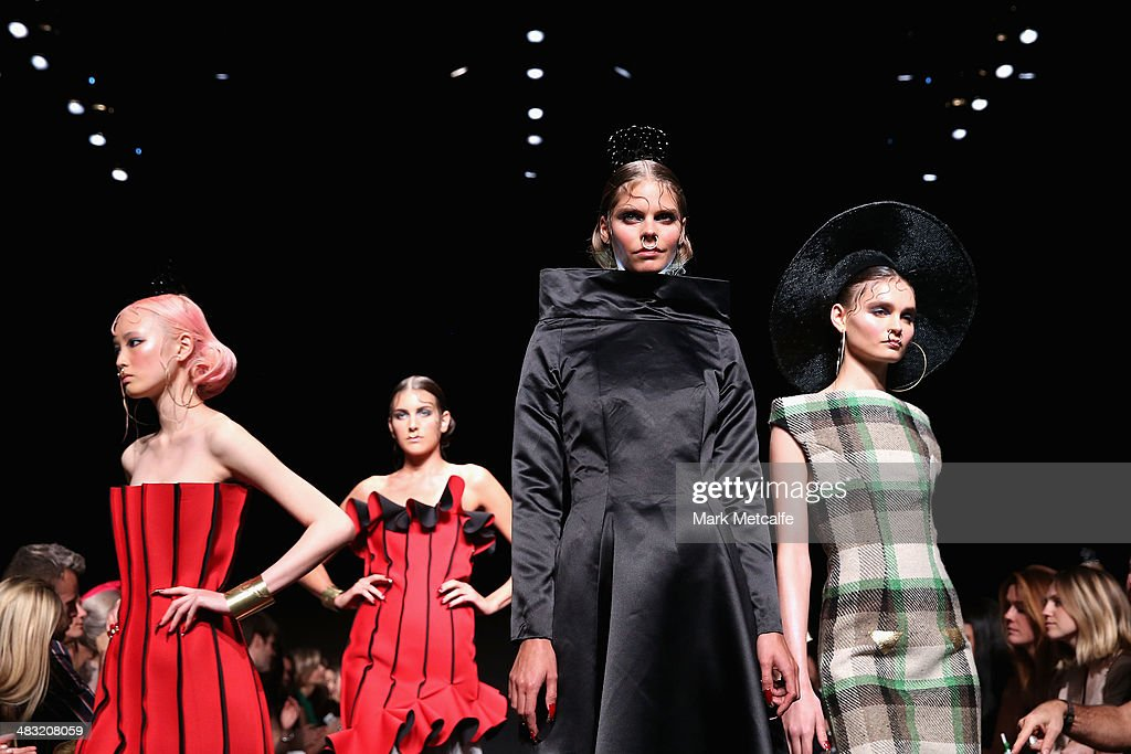 Models walk the runway at the Phoenix Keating show during Mercedes-Benz Fashion Week Australia 2014 at Carriageworks on April 7, 2014 in Sydney, Australia.